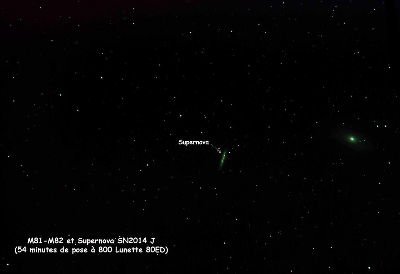 M81-M82 et supernova SN2014J apparue fin janvier 2014
