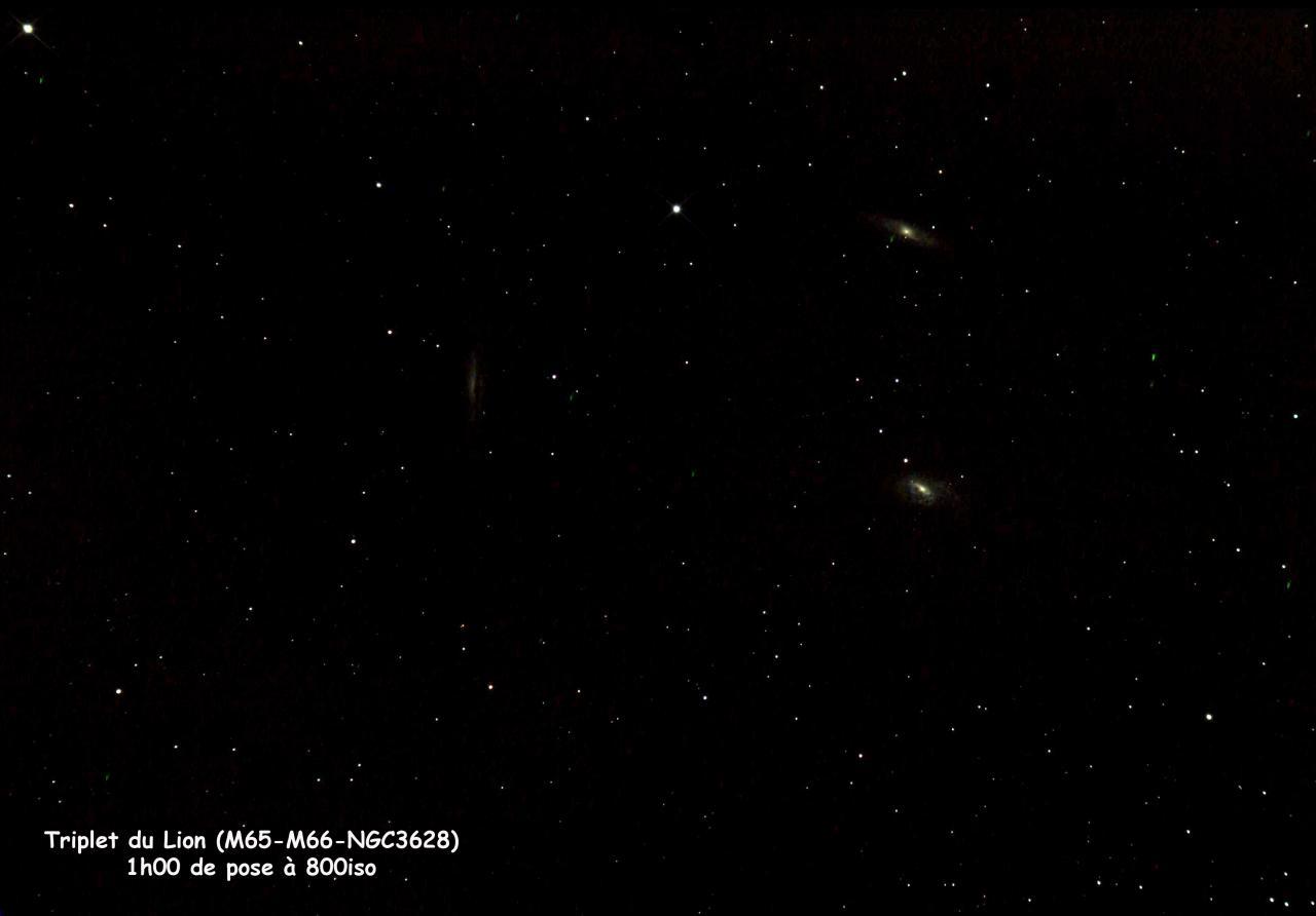 M65-M66-NGC3628 Triplet du Lion à la lunette 80ED